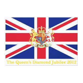 Bandera de unión del jubileo de diamante y escudo  lona envuelta para galerias
