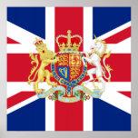 Bandera de unión del jubileo de diamante y escudo  posters