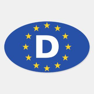 """Bandera de unión europea de CUATRO Alemania """"D"""" Pegatina Ovalada"""