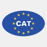 """Bandera de unión europea de CUATRO Cataluña """"CAT"""" Pegatina Ovalada"""