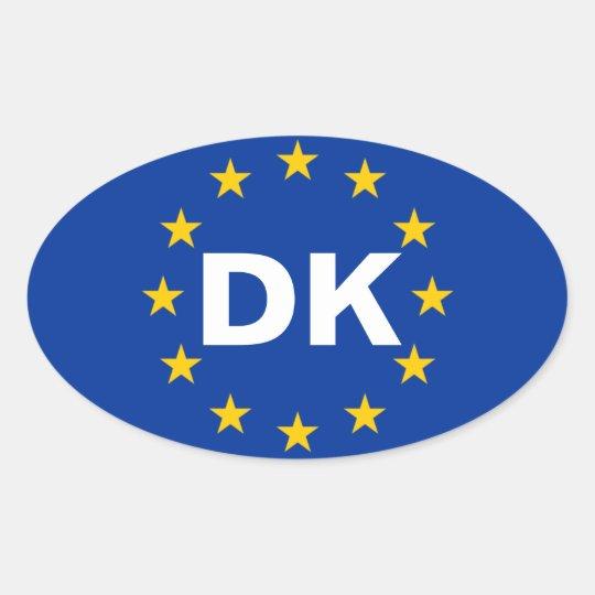 """Bandera de unión europea de CUATRO Dinamarca """"DK"""" Pegatina Ovalada"""