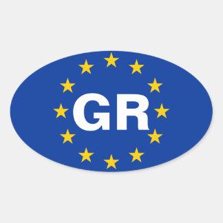 """Bandera de unión europea de CUATRO Grecia """"GR"""" Pegatina Ovalada"""