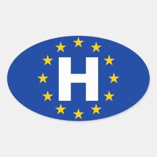 """Bandera de unión europea de CUATRO Hungría """"H"""" Pegatina Ovalada"""
