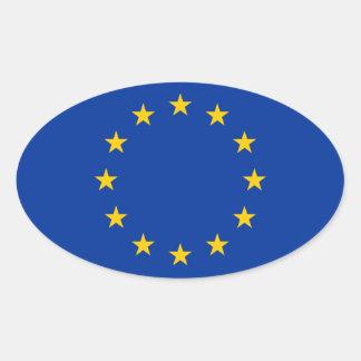 Bandera de unión europea pegatina ovalada