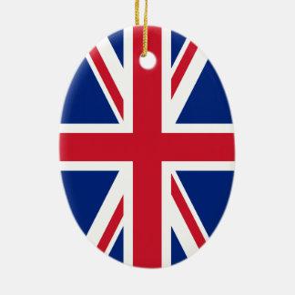 Bandera de Union Jack Adorno Navideño Ovalado De Cerámica
