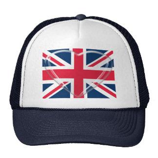 Bandera de Union Jack con arte adaptable del coraz Gorras De Camionero