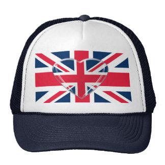 Bandera de Union Jack con diseño del corazón Gorro