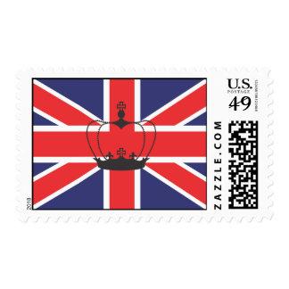 Bandera de Union Jack con franqueo de la corona Sello