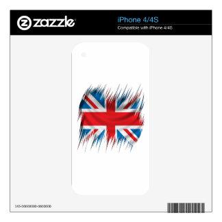 Bandera de Union Jack de las trituradoras Skins Para iPhone 4