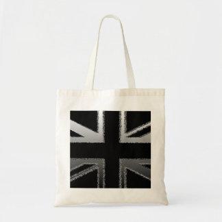 Bandera de Union Jack del gris negro y de plata Bolsa Tela Barata