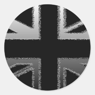 Bandera de Union Jack del gris negro y de plata Pegatina Redonda