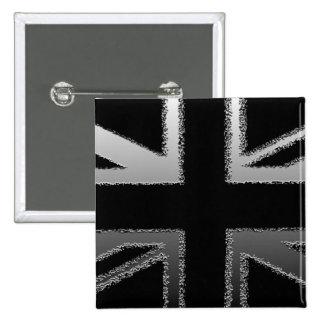 Bandera de Union Jack del gris negro y de plata Pin Cuadrado