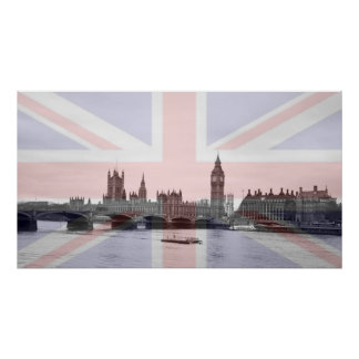 Bandera de Union Jack del horizonte de Londres Poster