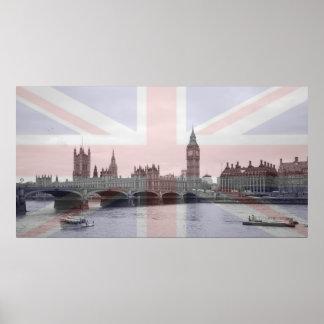 Bandera de Union Jack del horizonte de Londres Póster