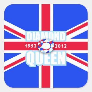 Bandera de Union Jack del jubileo de diamante del Pegatina Cuadrada