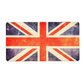 Bandera de Union Jack del vintage Etiquetas De Envío