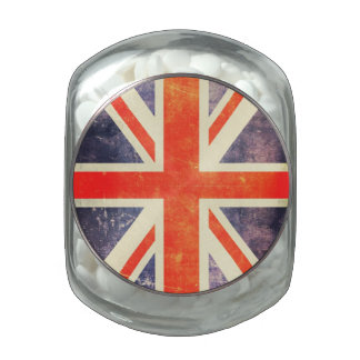Bandera de Union Jack del vintage Frascos De Cristal