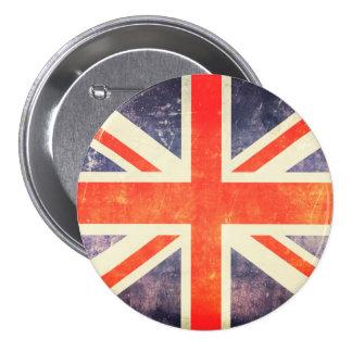 Bandera de Union Jack del vintage Pin Redondo 7 Cm
