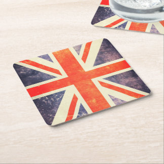 Bandera de Union Jack del vintage Posavasos Personalizable Cuadrado
