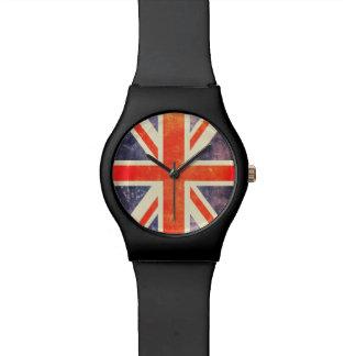 Bandera de Union Jack del vintage Relojes De Mano