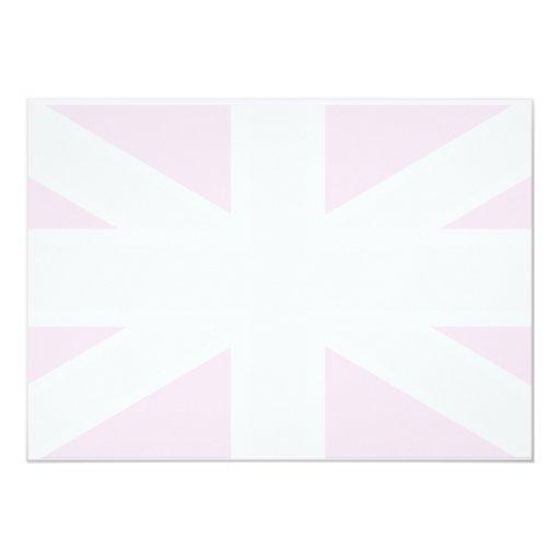 Bandera de Union Jack en la invitación rosada