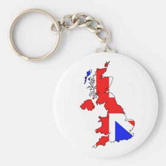 Bandera de Union Jack en llavero del mapa de Britá