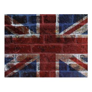 Bandera de Union Jack Gran Bretaña en la pared de  Postales