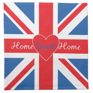 Bandera de Union Jack, hogar del hogar y corazón Servilletas De Papel