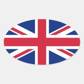 Bandera de Union Jack Pegatina Ovalada