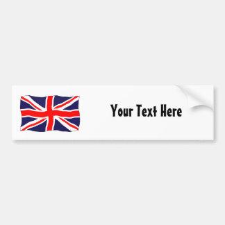 ¡Bandera de Union Jack - personalizable con su tex Etiqueta De Parachoque