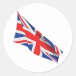 Bandera de Union Jack Reino Unido Etiqueta Redonda