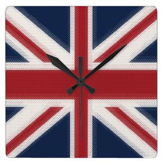 Bandera de Union Jack Reloj Cuadrado