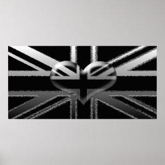 Bandera de Union Jack y poster modernos del corazó