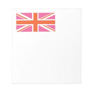 Bandera de unión rosada y anaranjada libretas para notas
