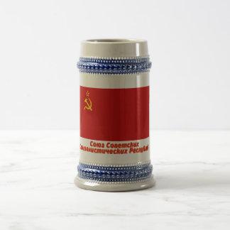 Bandera de Unión Soviética con nombre completo Jarra De Cerveza