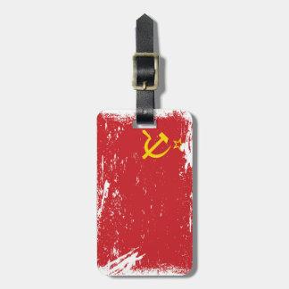 Bandera de Unión Soviética del Grunge - URSS Etiquetas De Maletas