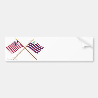 Bandera de unión y bandera magníficas cruzadas de  etiqueta de parachoque