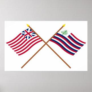 Bandera de unión y bandera magníficas cruzadas de  impresiones