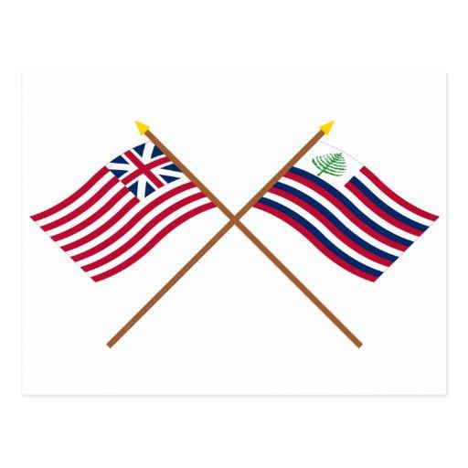 Bandera de unión y bandera magníficas cruzadas de  postal