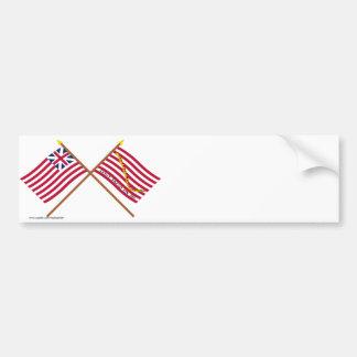 Bandera de unión y marina de guerra magníficas cru pegatina de parachoque