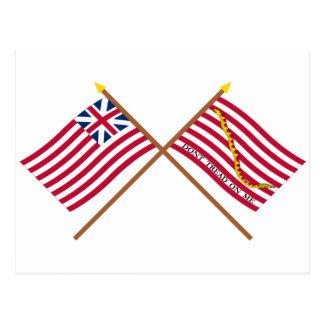 Bandera de unión y marina de guerra magníficas tarjetas postales