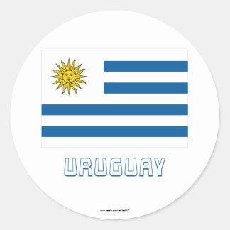 Bandera de Uruguay con nombre Pegatina Redonda