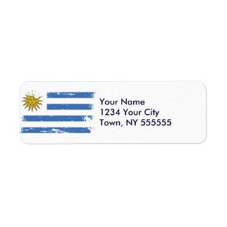 Bandera de Uruguay del Grunge Etiqueta De Remite