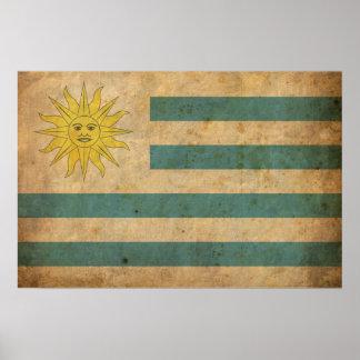 Bandera de Uruguay del vintage Póster