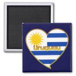 Bandera de URUGUAY elegante corazón y Sol de Mayo Imán Cuadrado