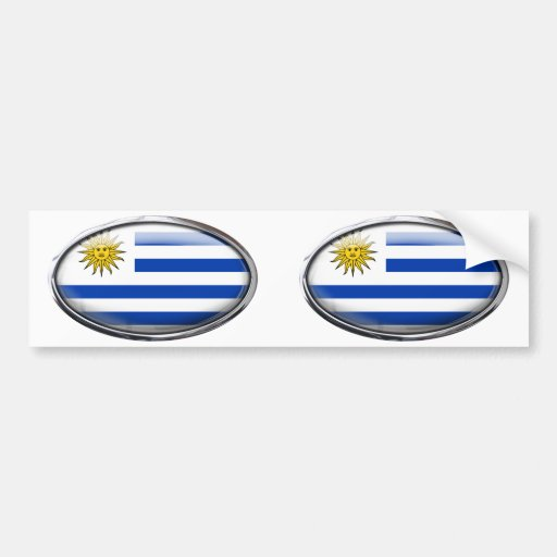 Bandera de Uruguay en el óvalo de cristal Etiqueta De Parachoque