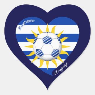 Bandera de URUGUAY FÚTBOL del equipo nacional 2014 Pegatina En Forma De Corazón