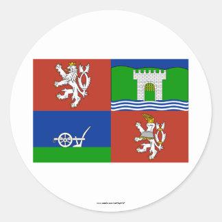 Bandera de Usti nad Labem Pegatina Redonda