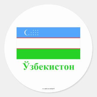 Bandera de Uzbekistán con nombre en Uzbek Pegatina