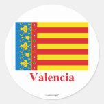 Bandera de Valencia con nombre Pegatinas Redondas